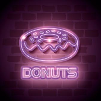 Étiquette de néon douce donut