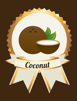 Étiquette de noix de coco sur le brun