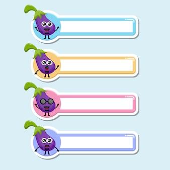 Étiquette de nom d'aubergine logo de personnage mignon