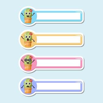 Étiquette de nom de cactus logo de personnage mignon
