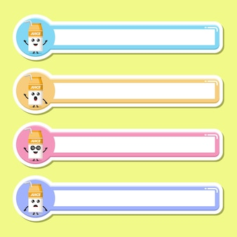 Étiquette de nom d'étiquette de boîte de jus mascotte de personnage mignon