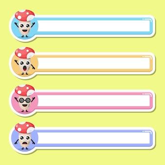 Étiquette de nom d'étiquette de champignon mascotte de personnage mignon