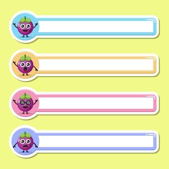 Étiquette de nom d'étiquette de mangoustan mascotte de personnage mignon