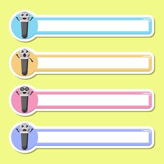 Étiquette de nom d'étiquette de micro mascotte de personnage mignon