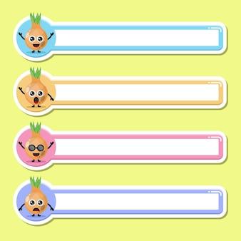 Étiquette de nom d'étiquette d'oignon mascotte de personnage mignon