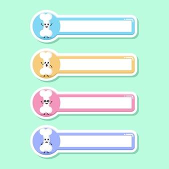 Étiquette de nom d'étiquette d'os mascotte de personnage mignon