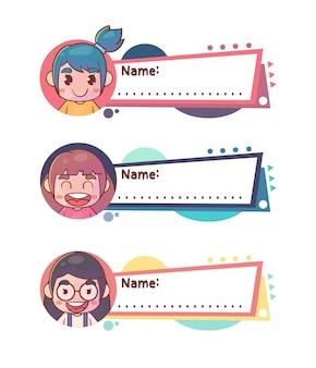 Étiquette de nom de fille mignons enfants heureux