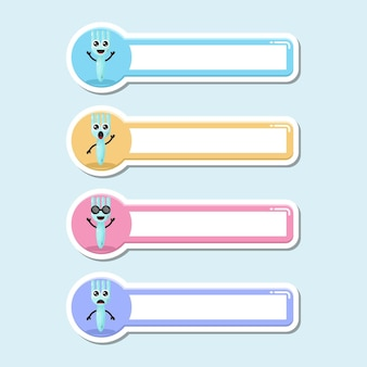 Étiquette de nom de fourche logo de personnage mignon