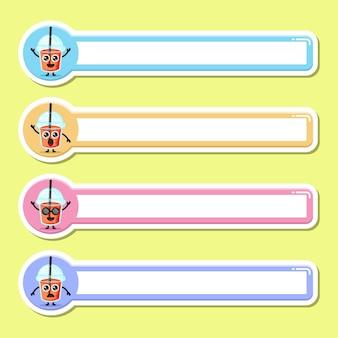 Étiquette de nom de jus de tasse en plastique mascotte de personnage mignon