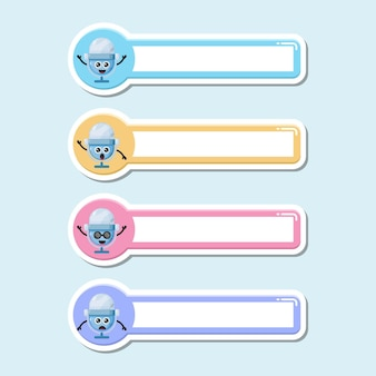 Étiquette de nom de micro logo de personnage mignon