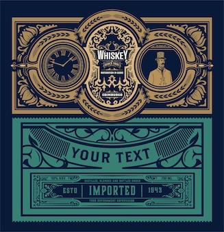 Étiquette occidentale pour le whisky ou d'autres produits.