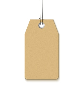 Étiquette avec un œillet métallique isolé sur fond blanc. étiquette de papier craft vierge modèle realistick