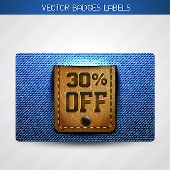 Étiquette d'offre en cuir et jeans