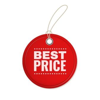 Étiquette d'offre en papier à suspendre. étiquette de coupe de prix vintage ronde rouge accrocher pour un modèle de vente à rabais spécial