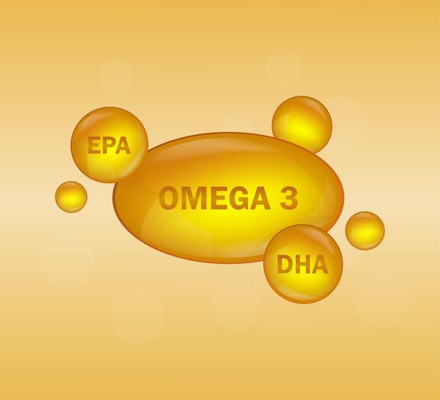 Étiquette d'or oméga 3 sur orange