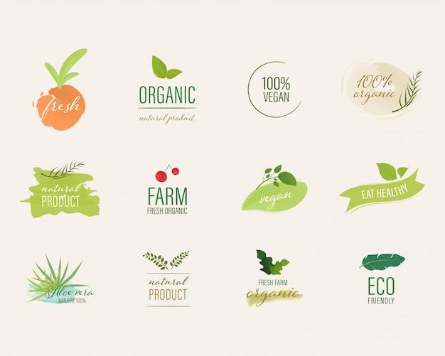 Étiquette organique et style de pinceau couleur aquarelle étiquette naturelle.