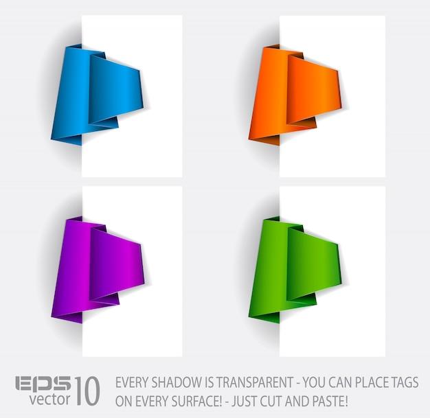 Étiquette en papier de style original avec ombres transparentes