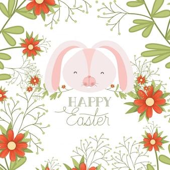 Étiquette de pâques joyeux avec icône isolé tête de lapin