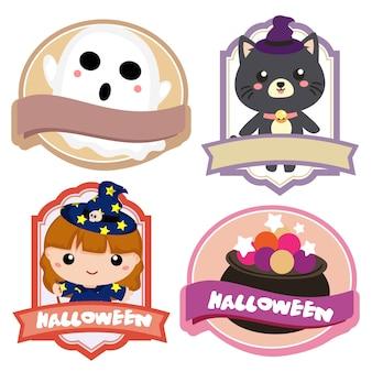 Étiquette de personnage aimable d'halloween