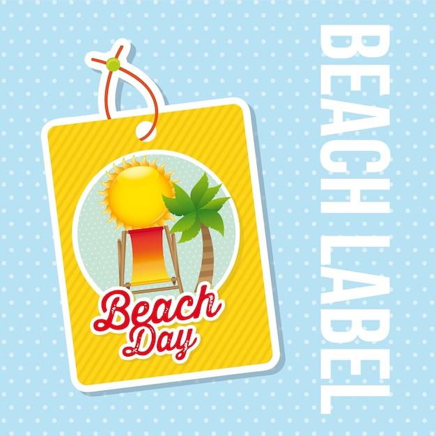 Étiquette de plage au cours de l'illustration vectorielle fond bleu
