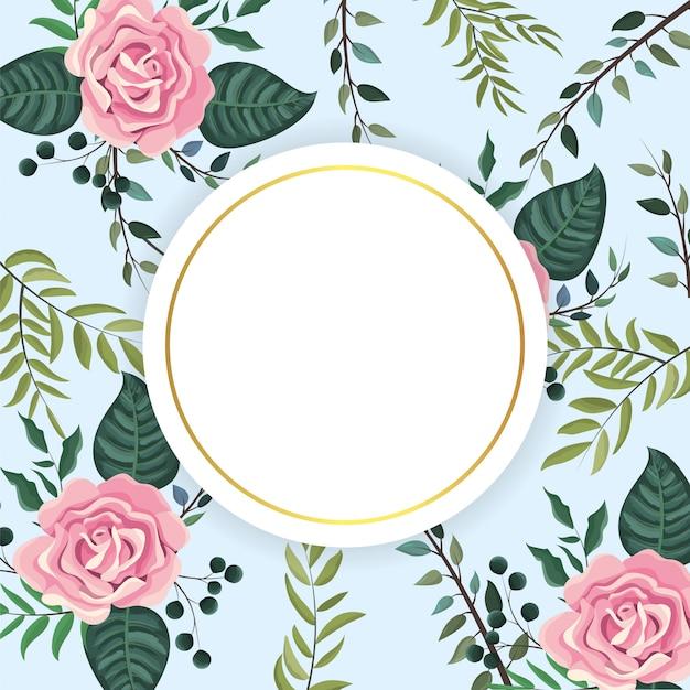 Étiquette avec des plantes et des feuilles de roses tropicales