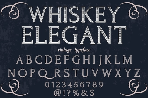 Étiquette de police rétro design whisky élégant