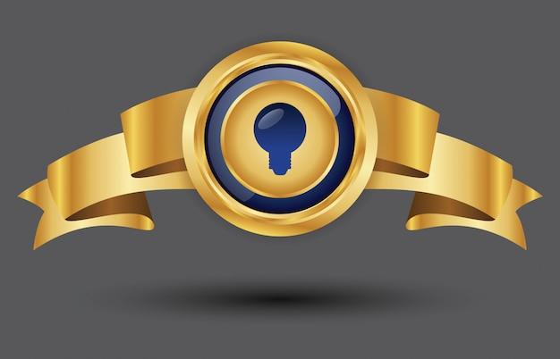 Étiquette premium et bordure en or avec badge avec ruban de bannière