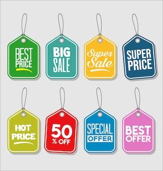 Étiquette de prix collection colorée moderne