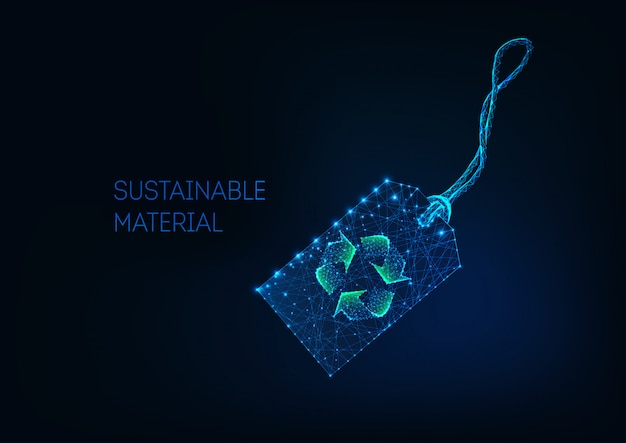 Étiquette de prix de détail futuriste low poly avec panneau de recyclage vert matériau durable, tissu recyclé.