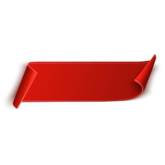 Étiquette de prix vierge rouge, étiquette ou badge. bannière de ruban pour la publicité. vecteur