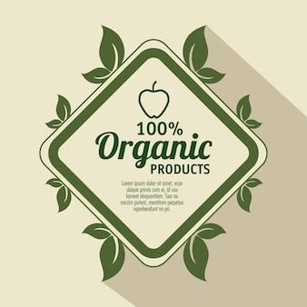 Étiquette de produits biologiques à 100% avec feuilles et pomme dessinés à la main sur fond beige vecteur malade