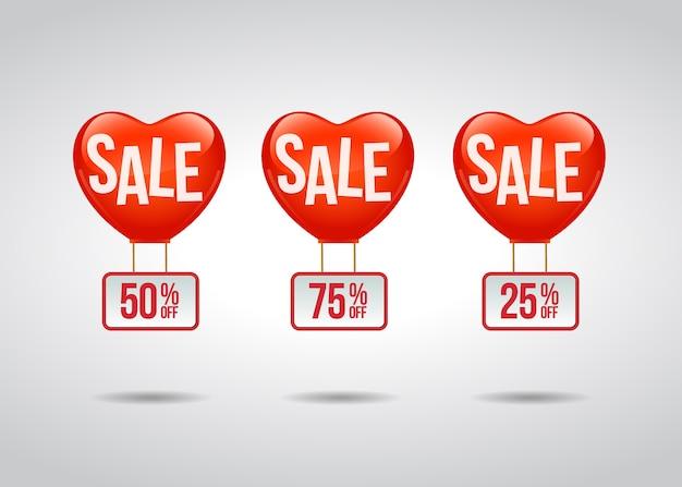 Étiquette promotionnelle de vente avec des ballons de foyer