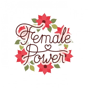 Étiquette de puissance féminine avec icône isolé couronne de fleurs