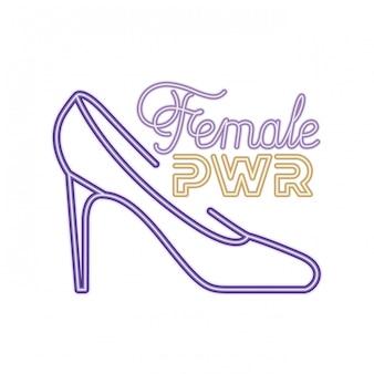 Étiquette de puissance féminine avec icône isolé talon