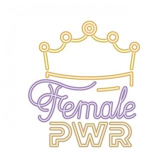 Étiquette de puissance féminine avec des icônes de la couronne