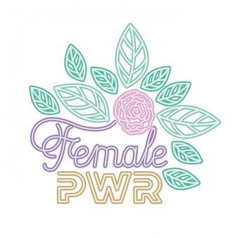 Étiquette de puissance féminine avec des icônes de roses
