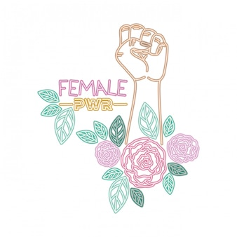 Étiquette de puissance féminine avec la main dans les icônes de signal de combat