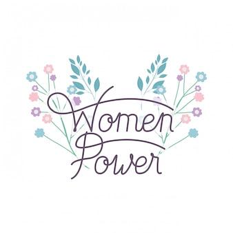 Étiquette de puissance des femmes avec icône isolé fleur