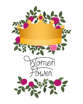 Étiquette de puissance des femmes avec icône isolé roses