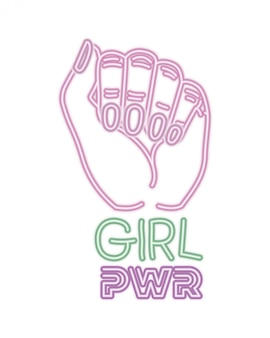 Étiquette de puissance de fille avec la main dans les icônes de signal de combat