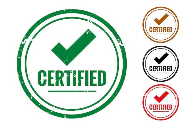 Étiquette de qualité de contrôle certifiée ou jeu de tampons en caoutchouc