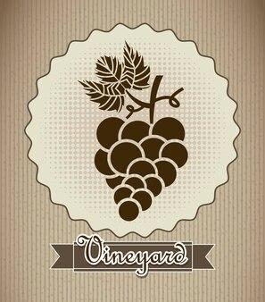 Étiquette de raisin sur illustration vectorielle fond beige
