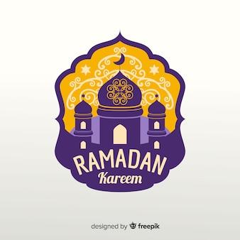 Étiquette de ramadan plat