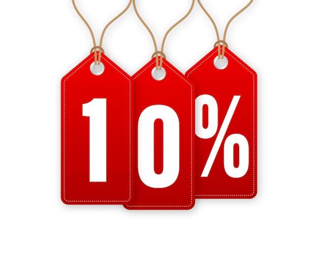 Étiquette de remise -10 pour cent de réduction. vente d'étiquettes volantes. illustration vectorielle.