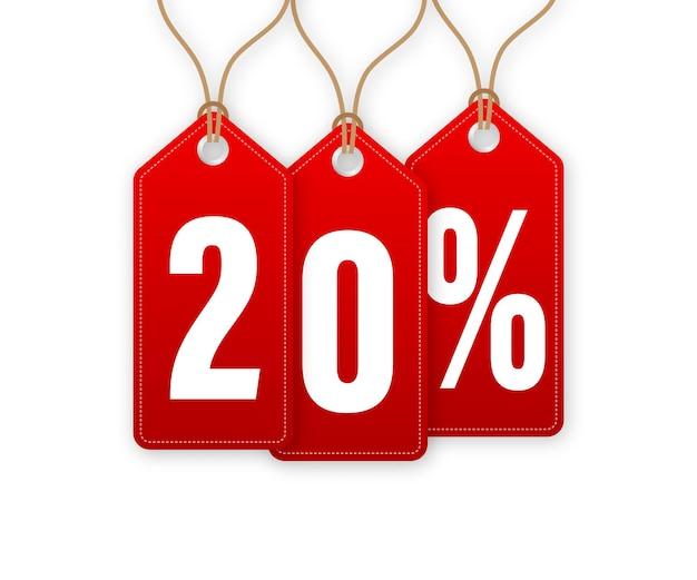Étiquette de remise -20 pour cent de réduction. vente d'étiquettes volantes. illustration vectorielle.