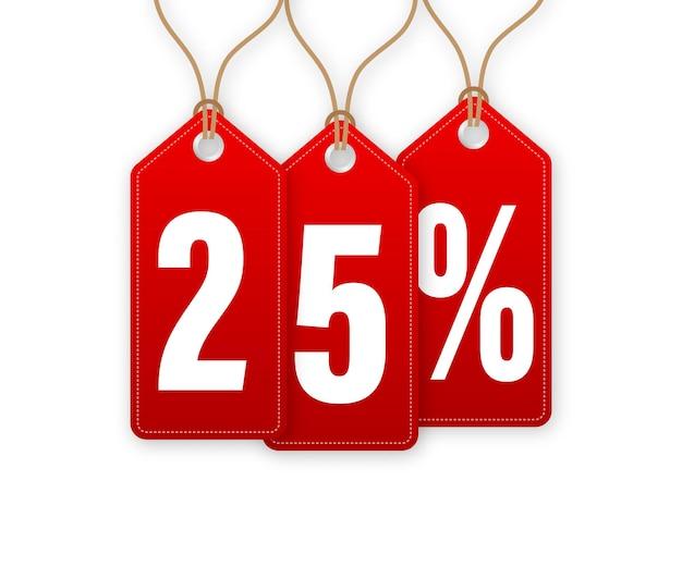 Étiquette de remise animée -25 pour cent de réduction. vente d'étiquettes volantes. illustration vectorielle.