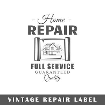 Étiquette de réparation isolée. modèle de logo