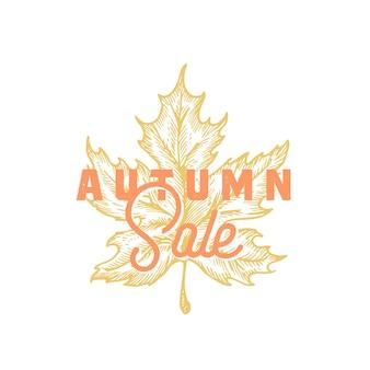 Étiquette rétro abstraite de vente d'automne, signe ou modèle de carte.