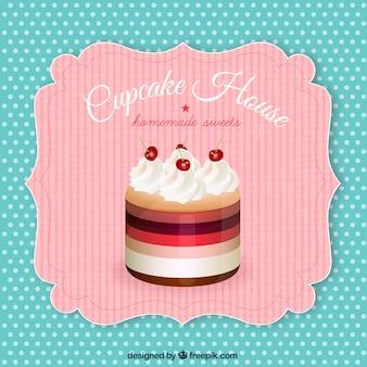 Étiquette rétro avec un petit gâteau