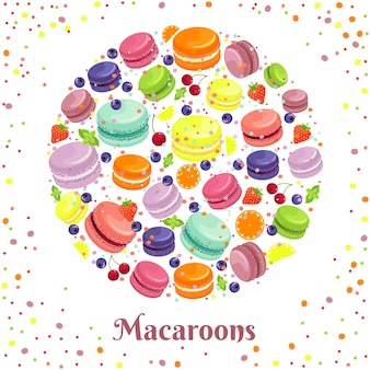 Étiquette ronde de biscuits macarons.